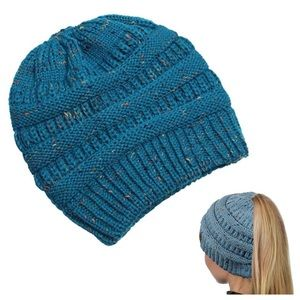 CC Soft Knit Speckled Teal Ponytail Beanie